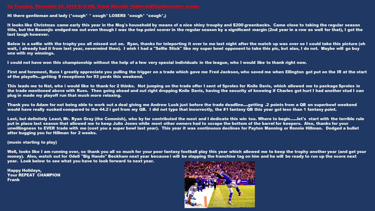 letter to fantasy football league